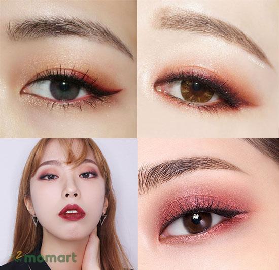 Cách phối màu mắt cam đỏ Burgundy