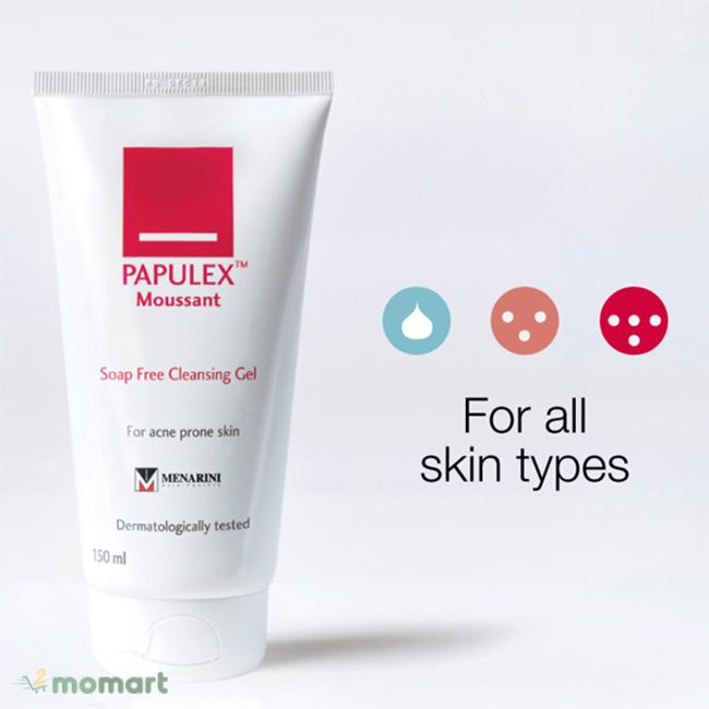 Papulex Moussant Soap Free Cleansing Gel sử dụng cho mọi loại da