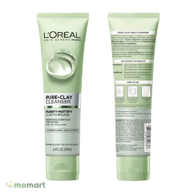 Sữa rửa mặt L'Oreal Pure Clay Cleanser hút sâu chân lông