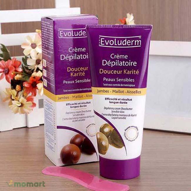 Kem tẩy lông Evoluderm bao bì màu tím