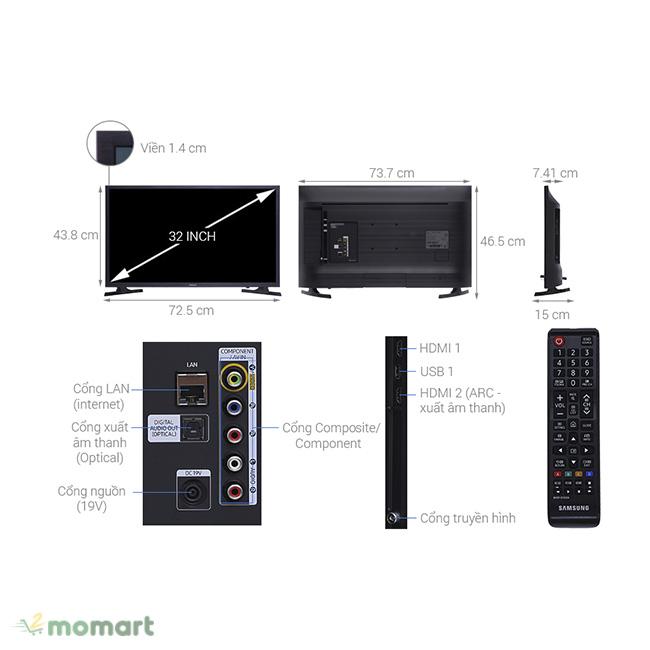 Smart Tivi Samsung 32 inch UA32N4300 có nhiều công nghệ tiên tiến