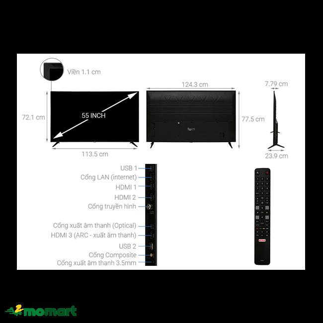 Smart Tivi TCL 4K 55 inch L55P65-UF đa dạng tính năng