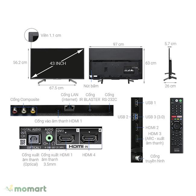Tivi Sony 4K 43 inch KD-43X8000G nổi tiếng trên thị trường