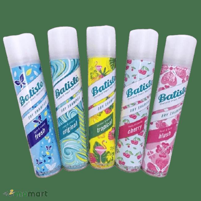 Năm loại hương khác nhau của dầu gội khô Batiste